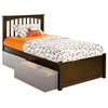 Brooklyn Twin Platform Bed w/ Flat Panel Footboard - ATL-BTWPBFP