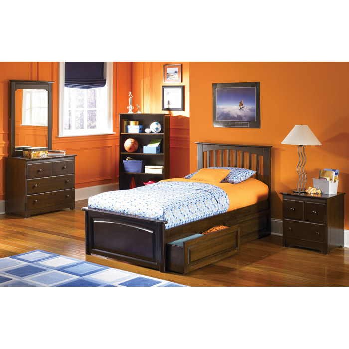 Brooklyn Twin Bed w/ Raised Panel Footboard and Drawers - ATL-BTBRPFD