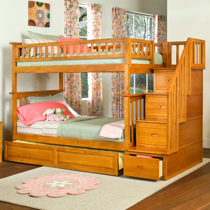 Columbia Twin Over Twin Stairway Bunk W Trundle Bed Dcg