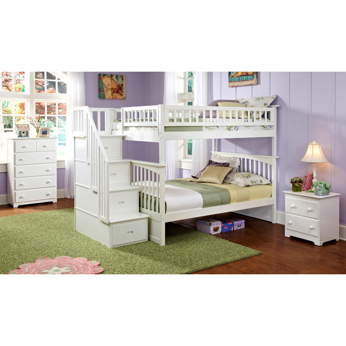 columbia white slatted bunk bedroom set w storage stairs atlcwbbsss