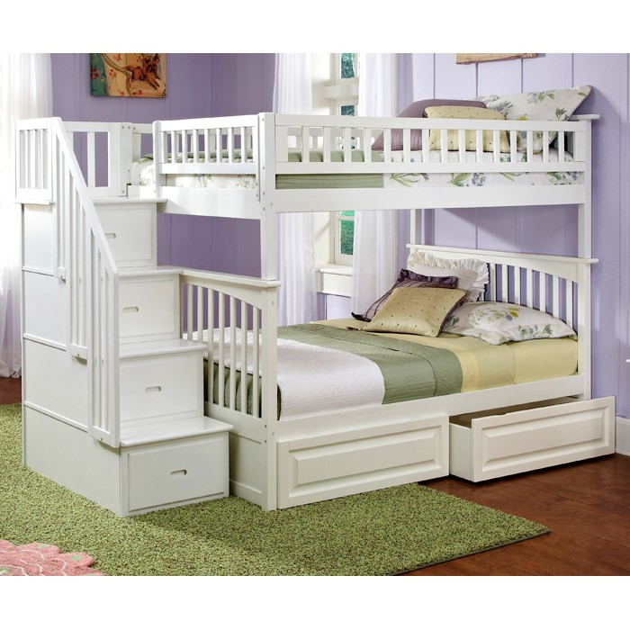Columbia White Stairway Full Bunk Bed w/ Storage Drawers - ATL-AB55822