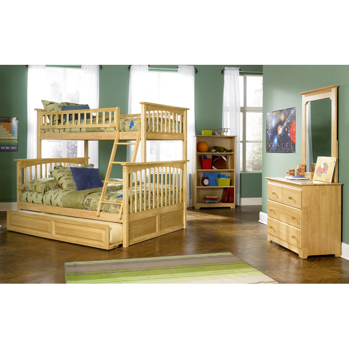 Columbia Wood Bedroom Set W Slatted Bunk Bed In Natural