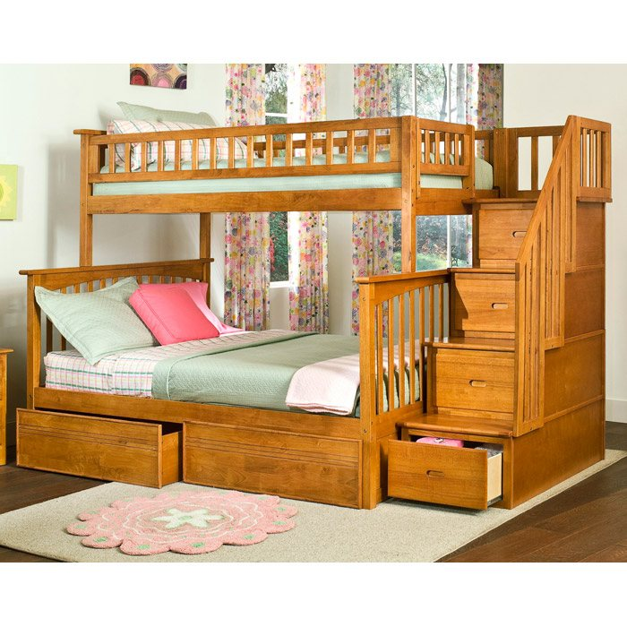 Columbia Staircase Bunk Bed w/ Flat Panel Drawers - Twin Over Full - ATL-AB5571