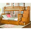 Columbia Staircase Bunk Bed w/ Raised Panel Drawers - Twin Over Full - ATL-AB5572