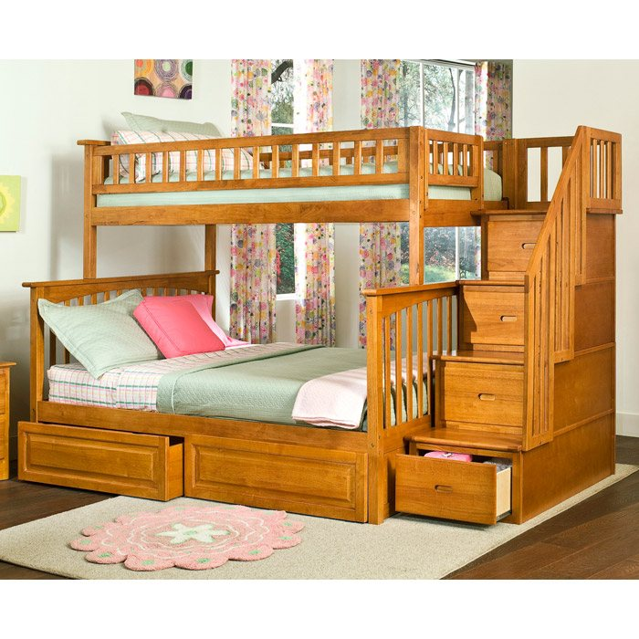 Columbia Staircase Bunk Bed W Raised Panel Drawers Twin Over Full
