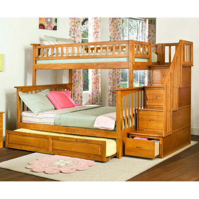 Columbia Twin Over Full Staircase Bunk W Trundle Bed