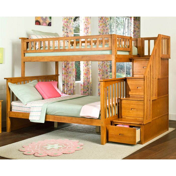 Bed Over Stair Box With Storage And Stairs: Columbia Twin Over Full Bunk Bed W/ Storage Stairs