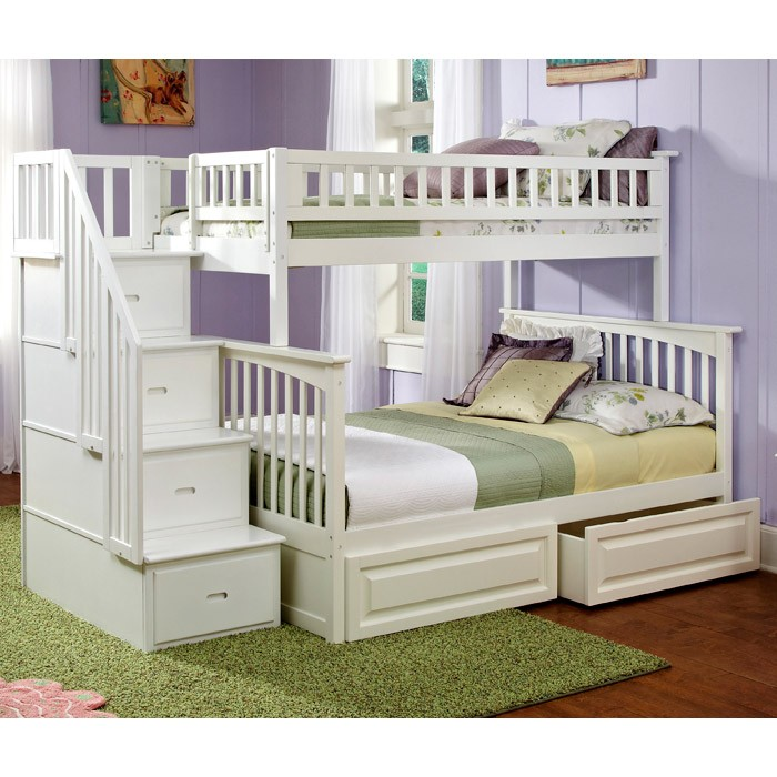 Columbia Staircase Bunk Bed W Raised Panel Drawers Twin