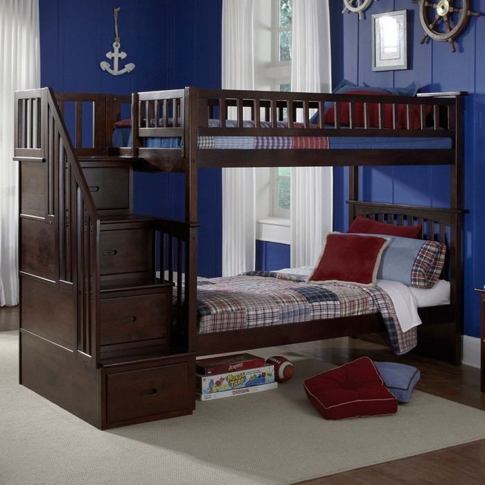 Bed Over Stair Box With Storage And Stairs: Columbia Twin Over Twin Bunk Bed W/ Storage Stairs