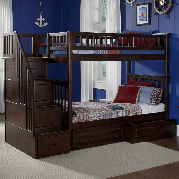 ... Columbia Stairway Bunk Bed W/ Raised Panel Drawers   Twin   ATL AB5562  ...