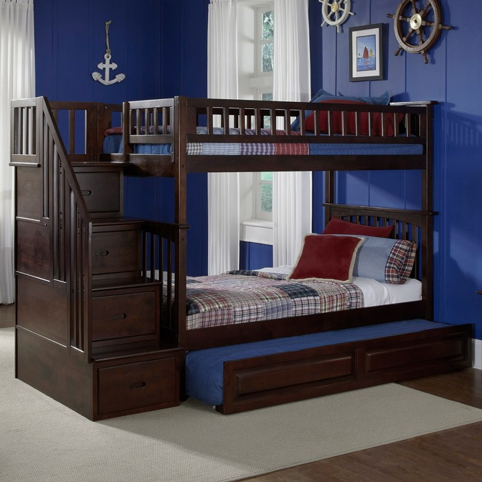 Columbia Twin Over Twin Stairway Bunk W/ Trundle Bed   ATL AB5563 ...