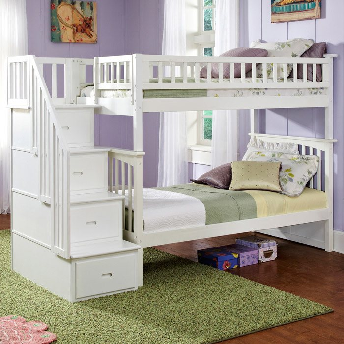 Twin Bunk Beds With Storage Part - 47: Columbia Twin Over Twin Bunk Bed W/ Storage Stairs - ATL-AB5560 ...