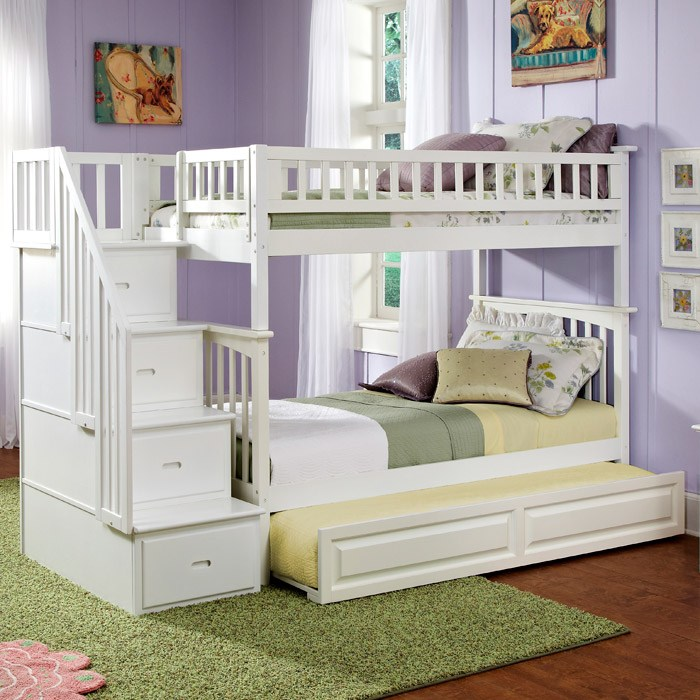Columbia Twin Over Twin Stairway Bunk w/ Trundle Bed - ATL-AB5563