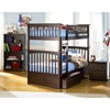 Columbia Wood Bedroom Set w/ Slatted Bunk Bed in Antique Walnut - ATL-CWBSSBBAW
