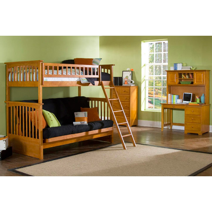 Columbia Twin Bunk Bed Over Full Futon Wood Bedroom Set Atl Ctofwbs