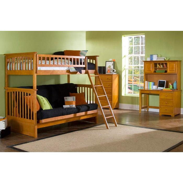 Columbia Twin Bunk Bed Over Full Futon Wood Bedroom Set Dcg Stores