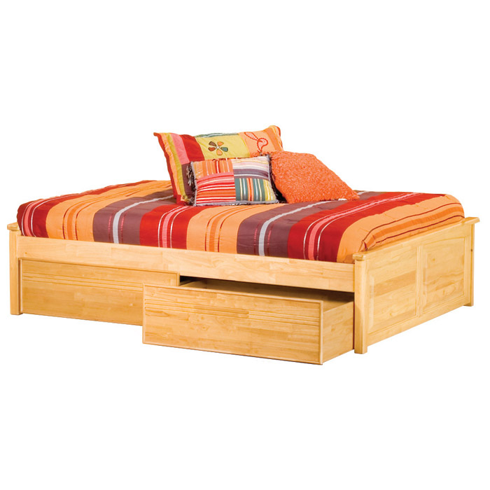 Concord Platform Bed w/ Raised Panels and Flat Panel Drawers - ATL-CPB2RPFPD