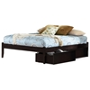 Concord Platform Bed w/ Open Footrail and Flat Panel Drawers in Espresso - ATL-CPBOFFPDES