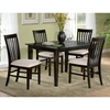 Deco 5 Piece Modern Dining Set W Slat Back Chairs
