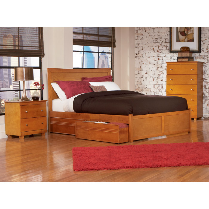 Platform Beds W Drawers : Miami platform bed w flat panel footboard and drawers