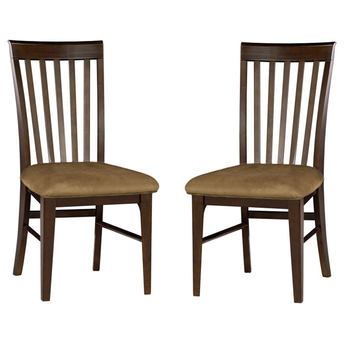 Montreal slatted dining chair w cappuccino fabric seat