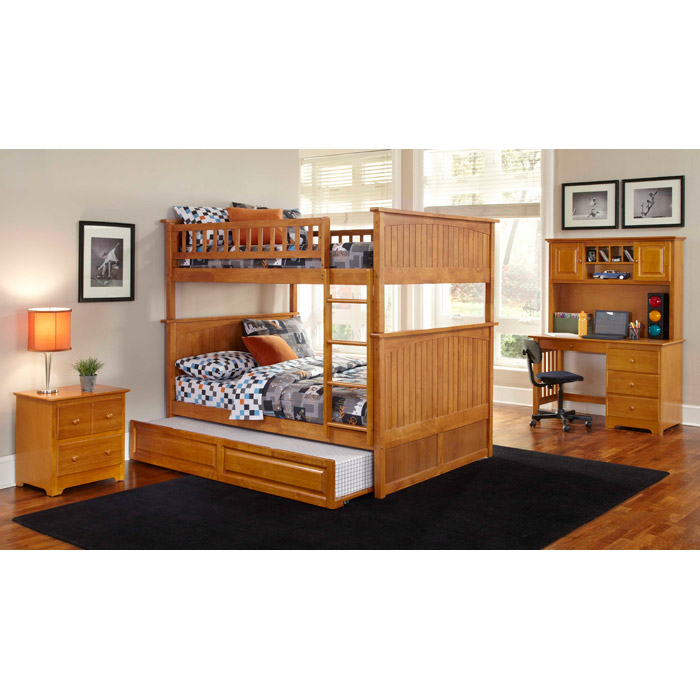Bedroom Interior Design For Kids Bedroom Settee Bench Bedroom Room Colors Video Game Bedroom Decor: Nantucket Cottage Style Bunk Bed And Trundle - Full