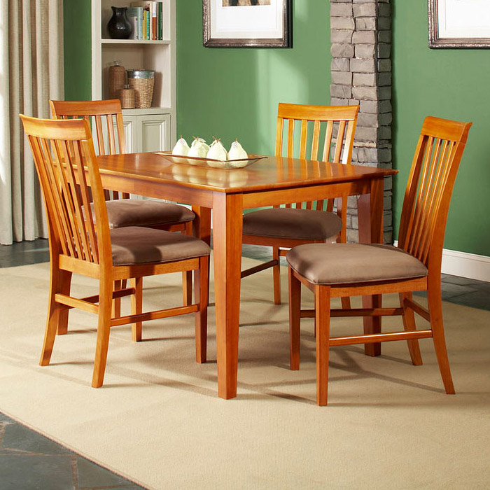 Shaker 5 Piece Dining Set W/ Mission Slat Back Chairs   ATL SH48X36SDT5PC  ...