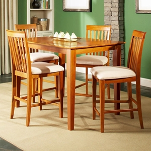 Shaker 5 Piece Pub Set w/ Slat Back Chairs