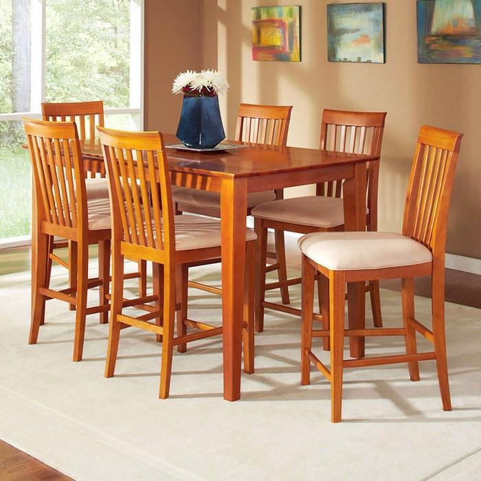 Rectangular Pub Tables Amazon Com: Shaker 7 Piece Pub Set W/ Rectangular Table And Slatted