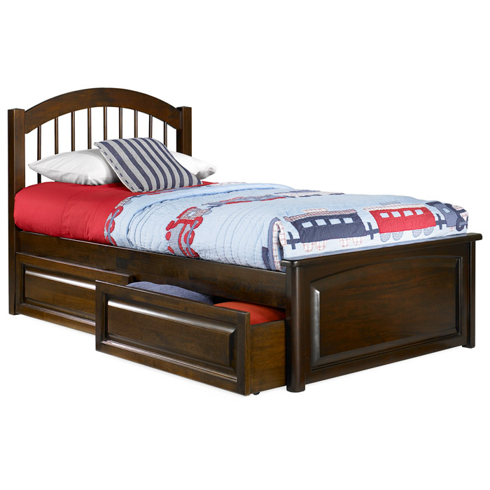 Rich Caramel Finish Classic Bedroom Set W Options: Windsor Twin Bed W/ Raised Panel Footboard And Storage