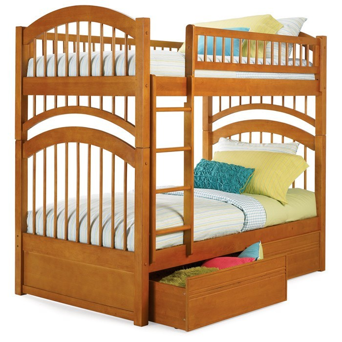 Windsor Mission Style Twin Bunk Bed W/ Flat Panel Drawers