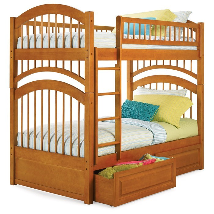 Windsor Mission Style Twin Bunk Bed w/ Raised Panel Drawers - ATL-AB5712