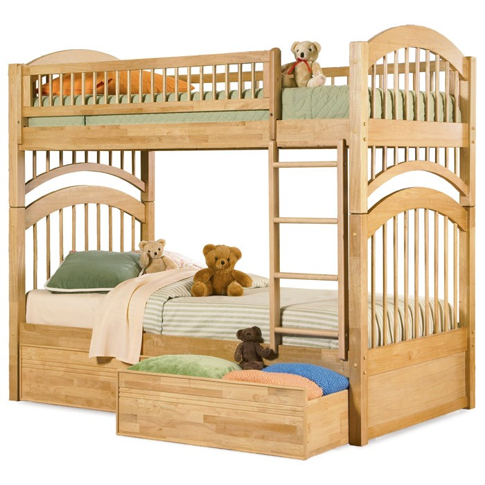 Windsor Mission Style Twin Bunk Bed w/ Flat Panel Drawers - ATL-AB5711