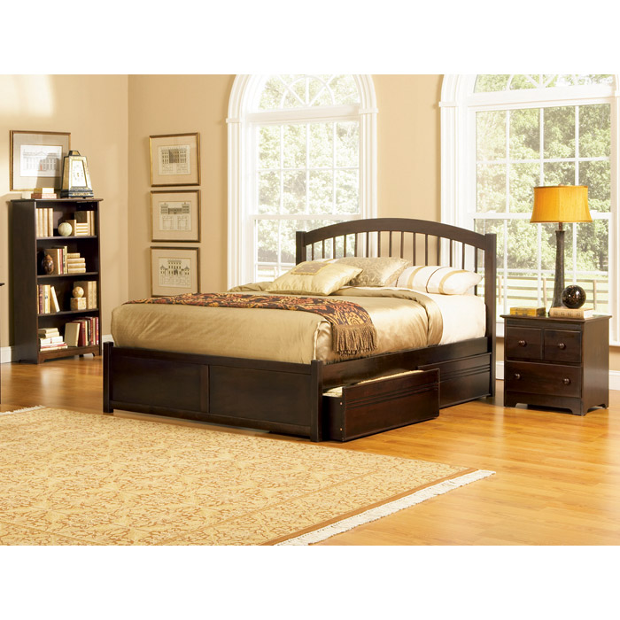 Windsor Platform Bed w/ Flat Panel Footboard and Drawers - ATL-WPBFPFD