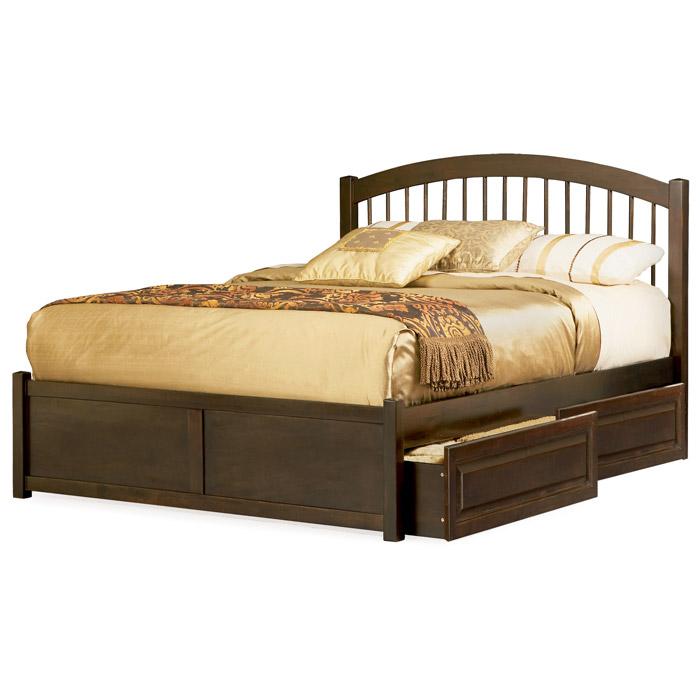 Platform Beds W Drawers : Windsor platform bed w flat footboard and raised panel