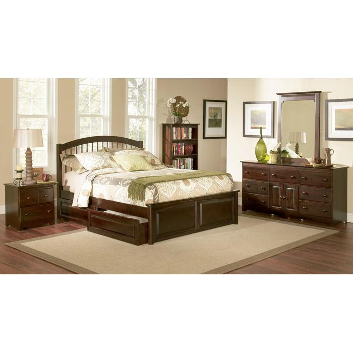 Platform Beds W Drawers : Windsor platform bed w raised panel footboard and storage