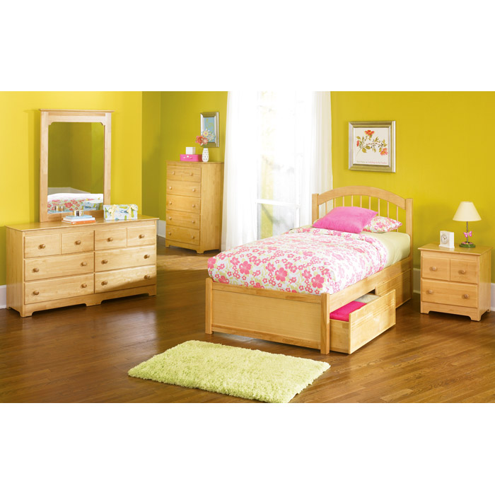 Windsor Twin Bed w/ Flat Panel Footboard and Drawers - ATL-WTWBFPFD
