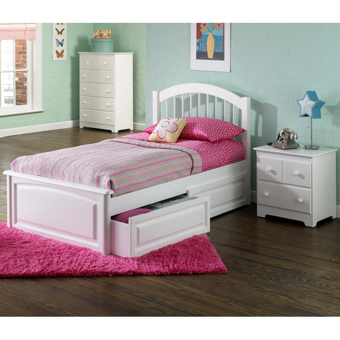Details About White 3 Piece Storage Drawers Twin Bed Box: Windsor Twin Bed W/ Raised Panel Footboard And Storage