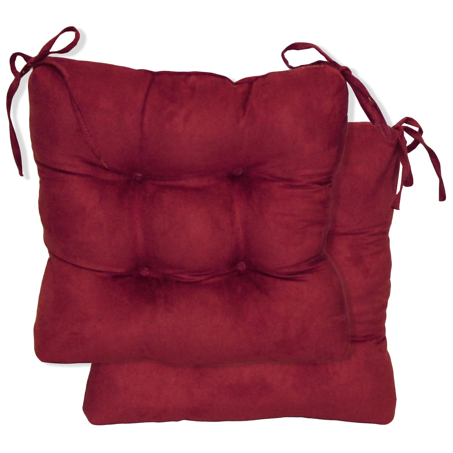 Square Chair Cushion Tufted Ties Microsuede Set Of 2