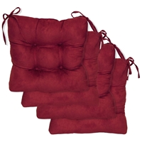 Square Chair Cushion - Tufted, Ties, Microsuede (Set of 4)