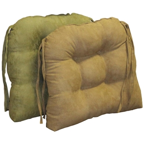 U-Shaped Chair Cushion - Tufted, Ties, Microsuede (Set of 2)