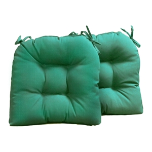 U-Shaped Outdoor Chair Cushion - Tufted, Ties, Solid (Set of 2)