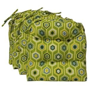 U-Shaped Outdoor Chair Cushion - Tufted, Ties, Patterned (Set of 4)