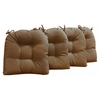 U-Shaped Outdoor Chair Cushion - Tufted, Ties, Solid (Set of 4) - BLZ-916X16US-T-4CH-REO-S