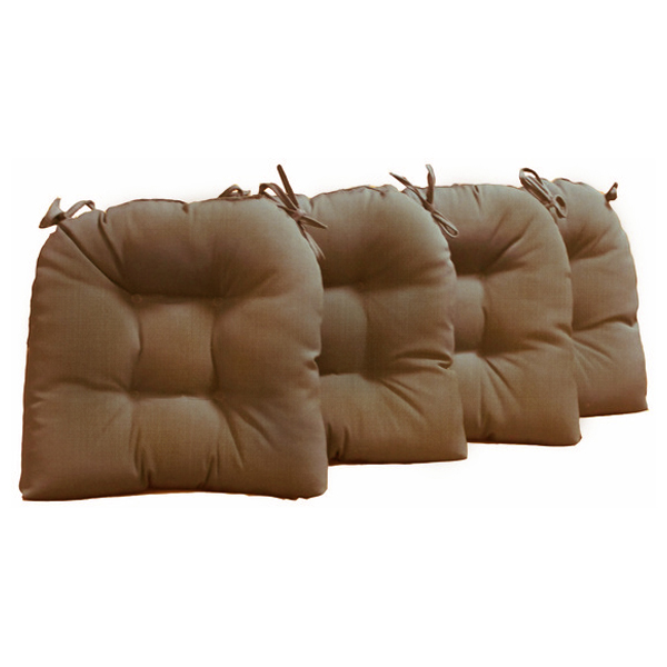 U Shaped Outdoor Chair Cushion Tufted Ties Solid Set