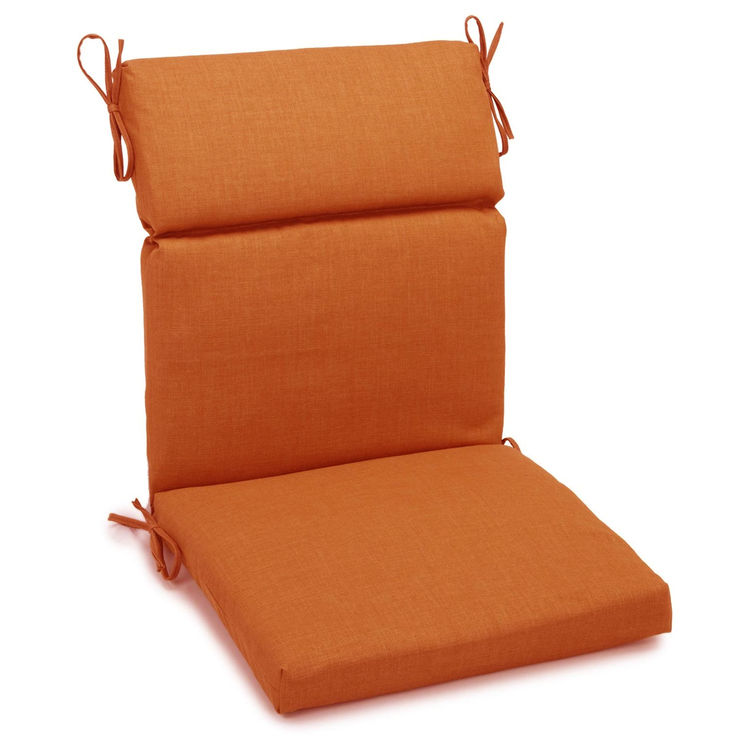 "3-Section 19"" x 42"" Patio Chair Cushion - Ties, Solid Color Fabric - BLZ-919X42-REO-S"