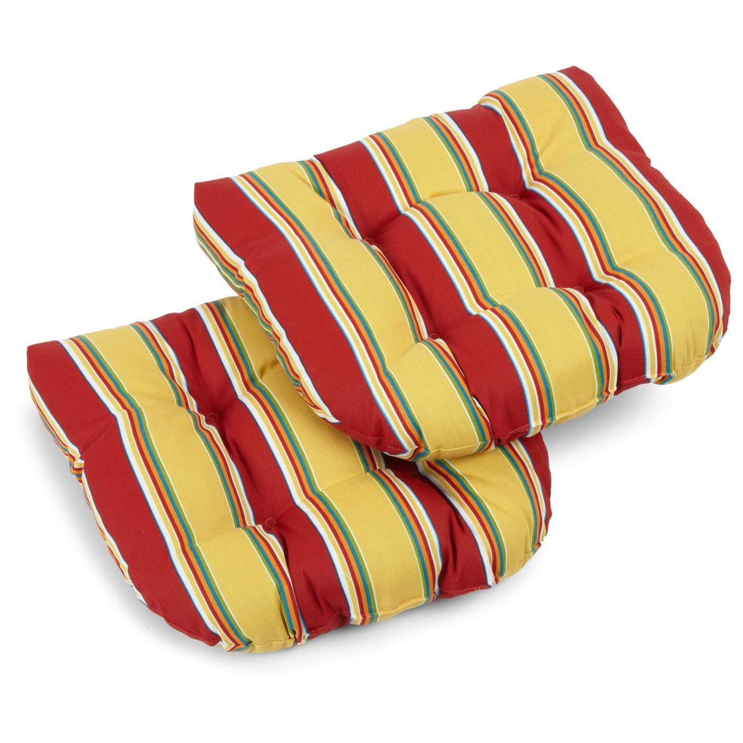 U-Shaped Patio Chair Cushion - All-Weather, Patterned (Set of 2)