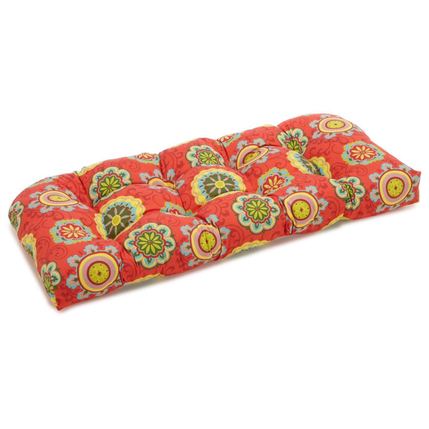 U-Shaped Patio Bench Cushion - Tufted, Patterned Fabric