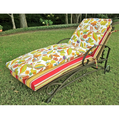 72 39 39 chaise lounge cushion with patterned cover dcg stores for Chaise lounge cushion covers