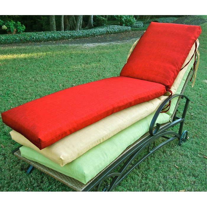 74 39 39 solid outdoor fabric chaise lounge cushion dcg stores for Aqua chaise lounge cushions